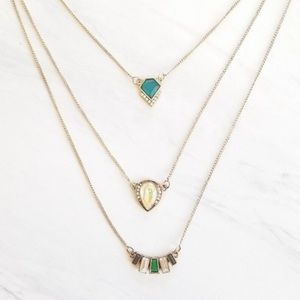 Layered Faux Gems Brass Necklace Green Opal 3 pc